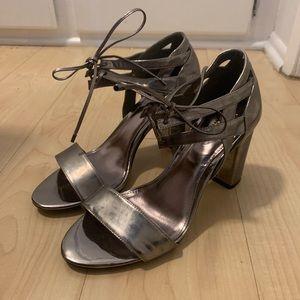 Dune Silver Metallic Tie Chunky Heel Sandals 9